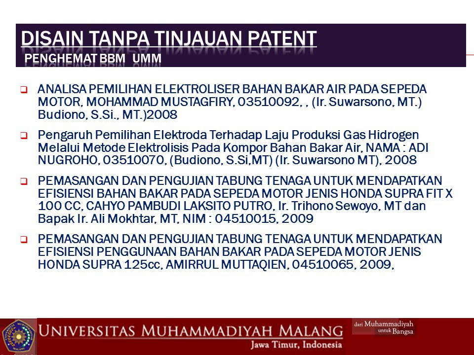  ANALISA PEMILIHAN ELEKTROLISER BAHAN BAKAR AIR PADA SEPEDA MOTOR, MOHAMMAD MUSTAGFIRY, 03510092,, (Ir.