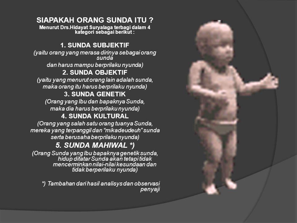 SIAPAKAH ORANG SUNDA ITU ? Menurut Drs.Hidayat Suryalaga terbagi dalam 4 kategori sebagai berikut : 1. SUNDA SUBJEKTIF (yaitu orang yang merasa diriny