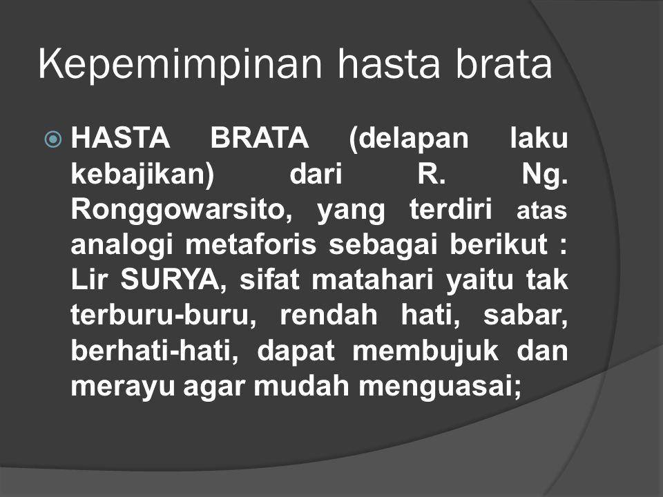 Kepemimpinan hasta brata  HASTA BRATA (delapan laku kebajikan) dari R. Ng. Ronggowarsito, yang terdiri atas analogi metaforis sebagai berikut : Lir S