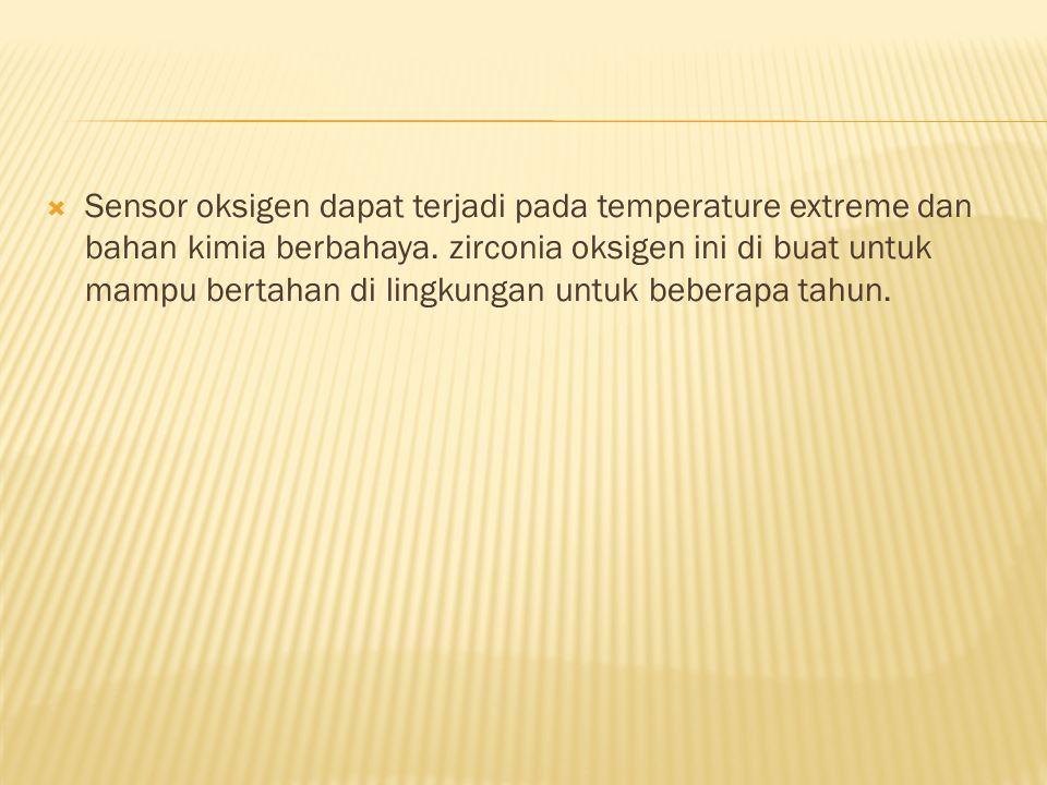  Sensor oksigen dapat terjadi pada temperature extreme dan bahan kimia berbahaya. zirconia oksigen ini di buat untuk mampu bertahan di lingkungan unt
