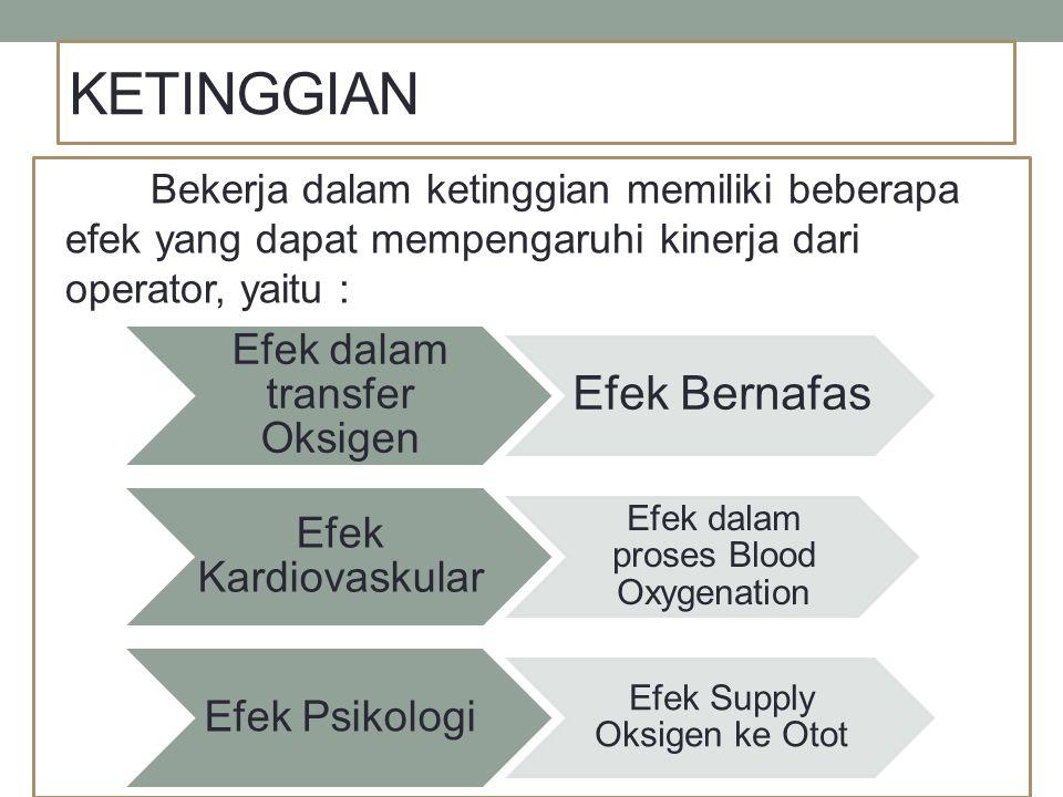 KETINGGIAN Bekerja dalam ketinggian memiliki beberapa efek yang dapat mempengaruhi kinerja dari operator, yaitu : Efek dalam transfer Oksigen Efek Ber