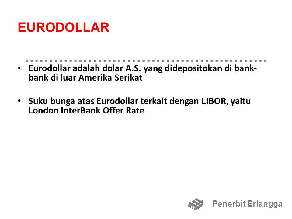 EURODOLLAR Eurodollar adalah dolar A.S. yang didepositokan di bank- bank di luar Amerika Serikat Suku bunga atas Eurodollar terkait dengan LIBOR, yait