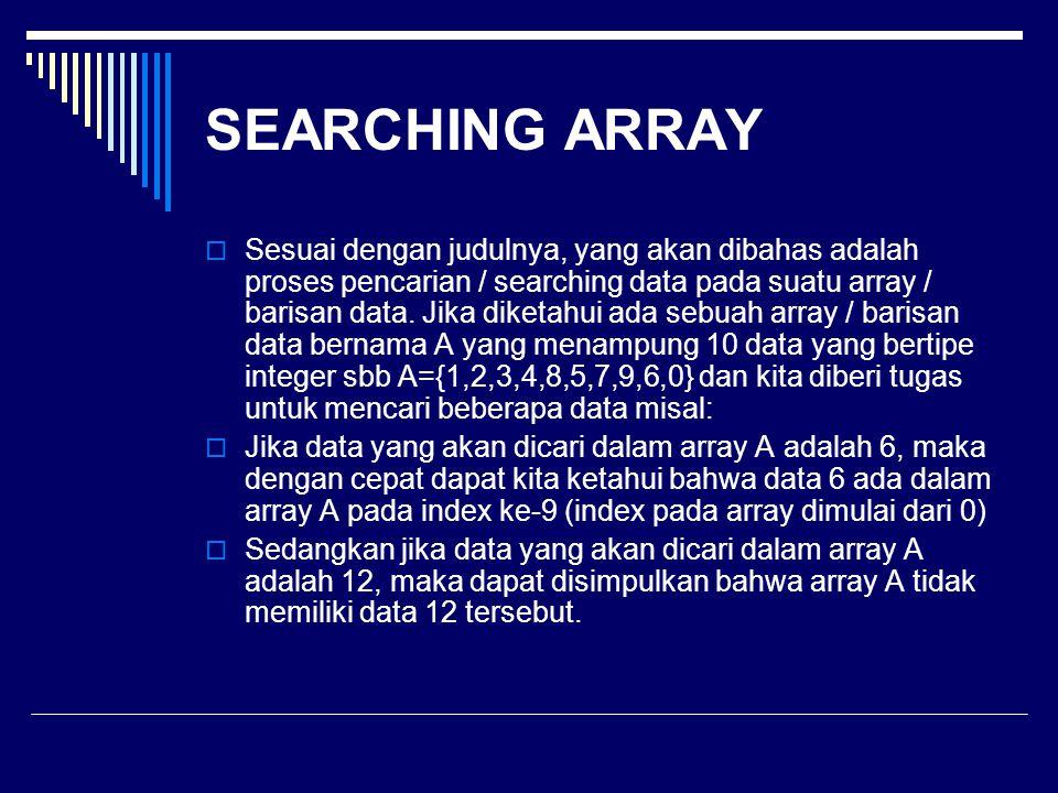 SEARCHING ARRAY  Sesuai dengan judulnya, yang akan dibahas adalah proses pencarian / searching data pada suatu array / barisan data. Jika diketahui a