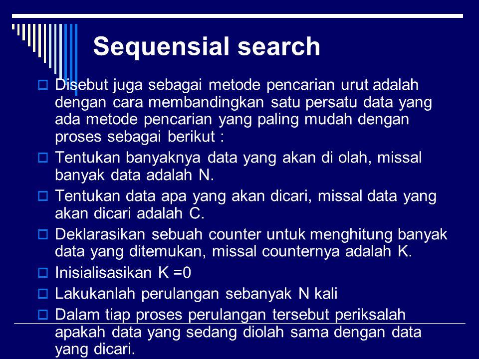 Sequensial search  Disebut juga sebagai metode pencarian urut adalah dengan cara membandingkan satu persatu data yang ada metode pencarian yang palin