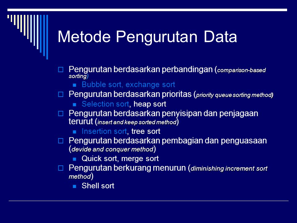 Metode Pengurutan Data comparison-based sorting)  Pengurutan berdasarkan perbandingan ( comparison-based sorting) Bubble sort, exchange sort priority