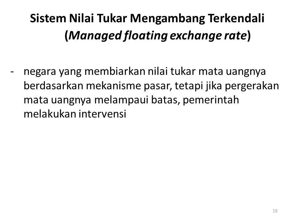 19 Sistem Nilai Tukar Mengambang Terkendali (Managed floating exchange rate) -negara yang membiarkan nilai tukar mata uangnya berdasarkan mekanisme pasar, tetapi jika pergerakan mata uangnya melampaui batas, pemerintah melakukan intervensi