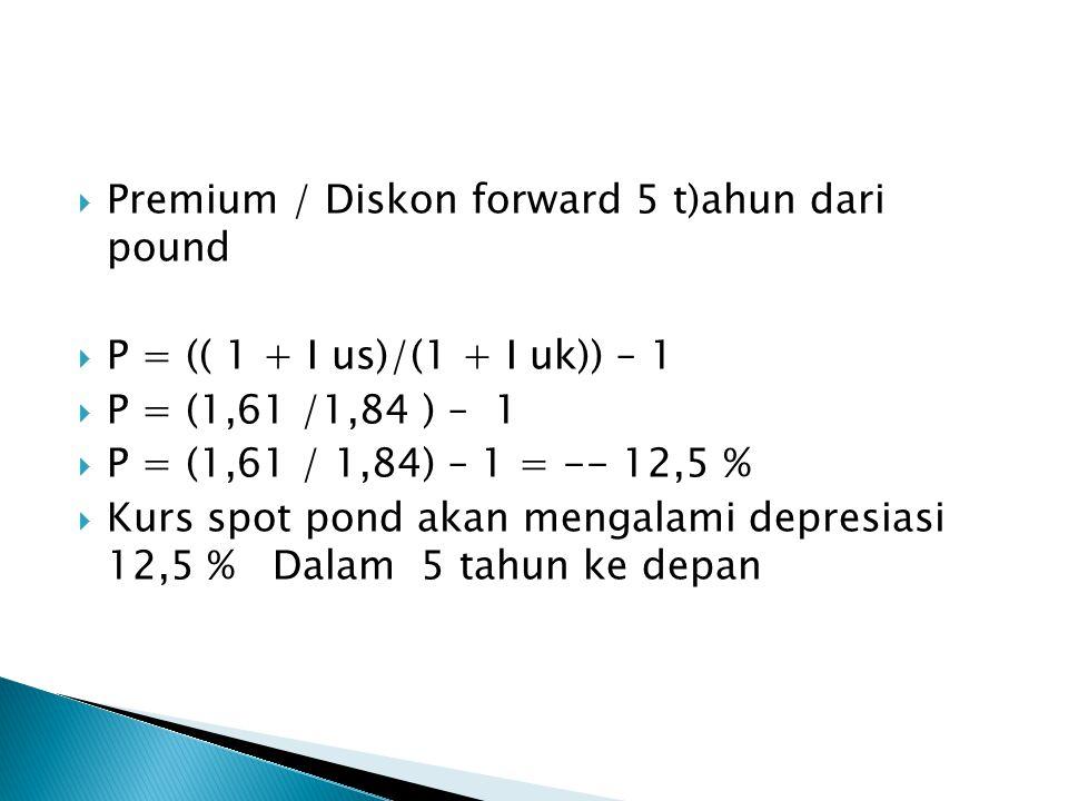  Premium / Diskon forward 5 t)ahun dari pound  P = (( 1 + I us)/(1 + I uk)) – 1  P = (1,61 /1,84 ) – 1  P = (1,61 / 1,84) – 1 = -- 12,5 %  Kurs spot pond akan mengalami depresiasi 12,5 % Dalam 5 tahun ke depan