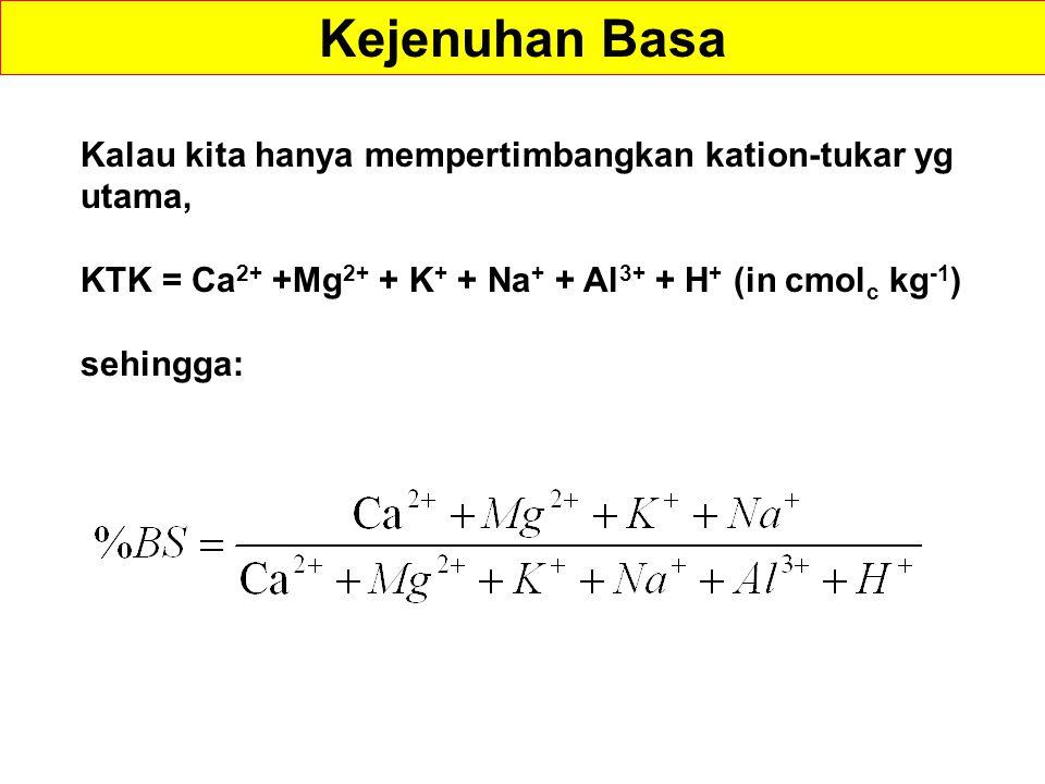 Kalau kita hanya mempertimbangkan kation-tukar yg utama, KTK = Ca 2+ +Mg 2+ + K + + Na + + Al 3+ + H + (in cmol c kg -1 ) sehingga: Kejenuhan Basa