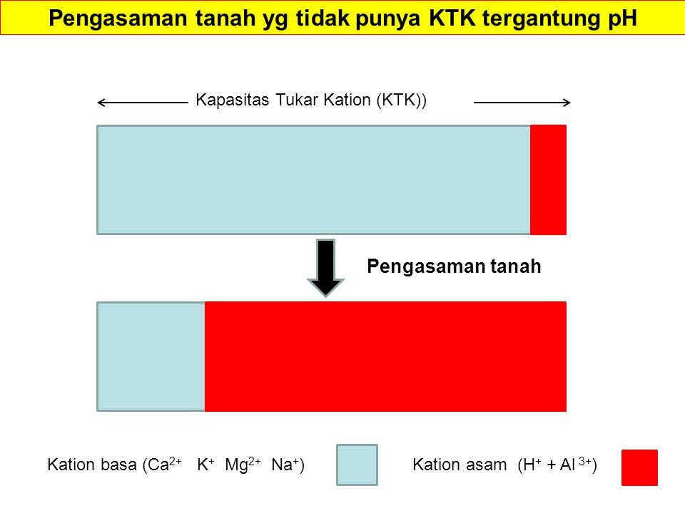 Kation basa (Ca 2+ K + Mg 2+ Na + )Kation asam (H + + Al 3+ ) Kapasitas Tukar Kation (KTK)) Pengasaman tanah Pengasaman tanah yg tidak punya KTK tergantung pH