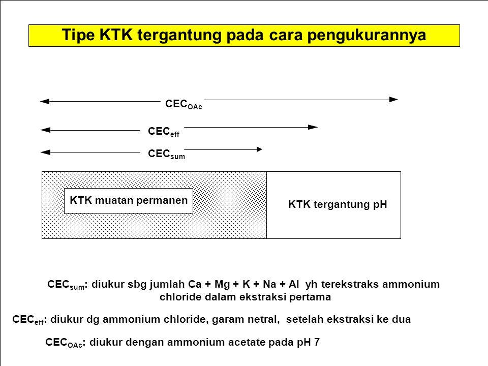 KTK muatan permanen KTK tergantung pH CEC eff CEC OAc CEC sum : diukur sbg jumlah Ca + Mg + K + Na + Al yh terekstraks ammonium chloride dalam ekstraksi pertama CEC eff : diukur dg ammonium chloride, garam netral, setelah ekstraksi ke dua CEC OAc : diukur dengan ammonium acetate pada pH 7 Tipe KTK tergantung pada cara pengukurannya CEC sum