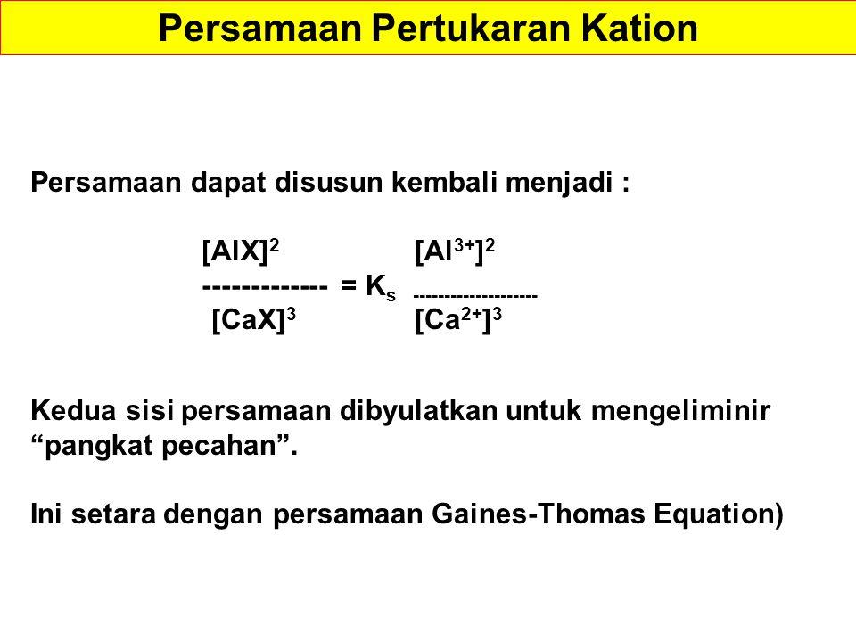 Persamaan dapat disusun kembali menjadi : [AlX] 2 [Al 3+ ] 2 ------------- = K s -------------------- [CaX] 3 [Ca 2+ ] 3 Kedua sisi persamaan dibyulatkan untuk mengeliminir pangkat pecahan .