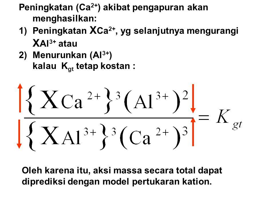 Peningkatan (Ca 2+ ) akibat pengapuran akan menghasilkan: 1)Peningkatan X Ca 2+, yg selanjutnya mengurangi X Al 3+ atau 2)Menurunkan (Al 3+ ) kalau K gt tetap kostan : Oleh karena itu, aksi massa secara total dapat diprediksi dengan model pertukaran kation.