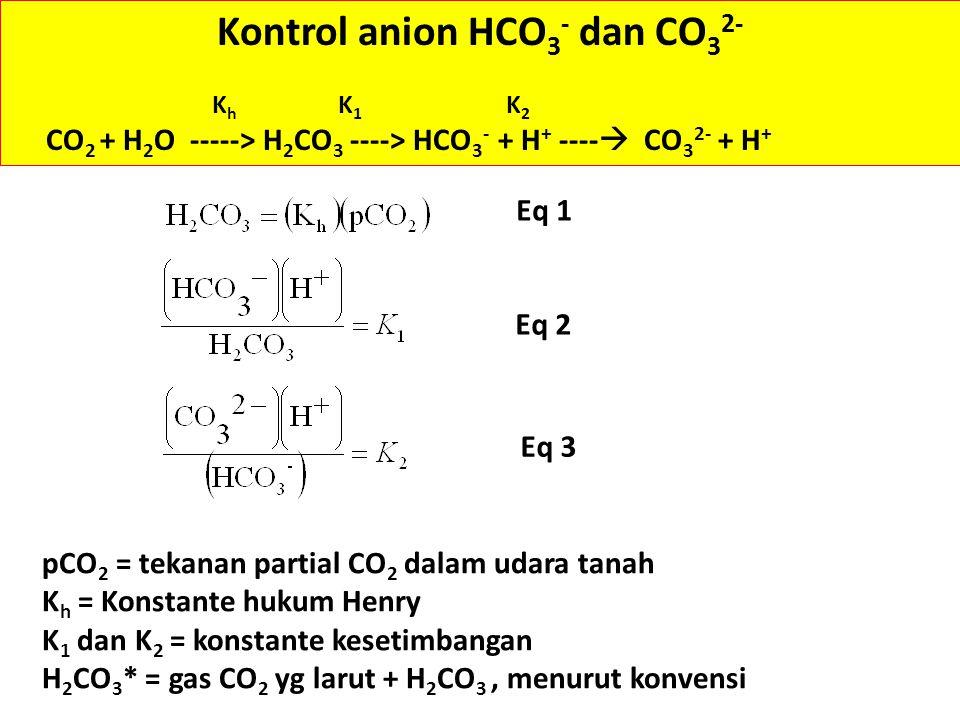 Kontrol anion HCO 3 - dan CO 3 2- K h K 1 K 2 CO 2 + H 2 O -----> H 2 CO 3 ----> HCO 3 - + H + ----  CO 3 2- + H + Eq 1 Eq 2 pCO 2 = tekanan partial CO 2 dalam udara tanah K h = Konstante hukum Henry K 1 dan K 2 = konstante kesetimbangan H 2 CO 3 * = gas CO 2 yg larut + H 2 CO 3, menurut konvensi Eq 3