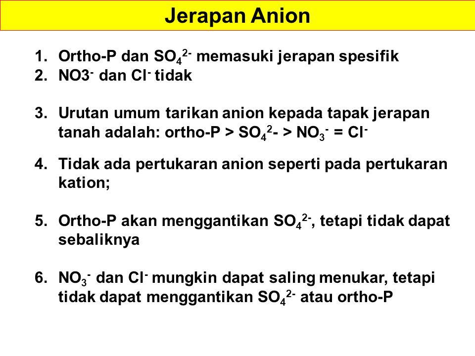 1.Ortho-P dan SO 4 2- memasuki jerapan spesifik 2.NO3 - dan Cl - tidak 3.Urutan umum tarikan anion kepada tapak jerapan tanah adalah: ortho-P > SO 4 2 - > NO 3 - = Cl - 4.Tidak ada pertukaran anion seperti pada pertukaran kation; 5.Ortho-P akan menggantikan SO 4 2-, tetapi tidak dapat sebaliknya 6.NO 3 - dan Cl - mungkin dapat saling menukar, tetapi tidak dapat menggantikan SO 4 2- atau ortho-P Jerapan Anion