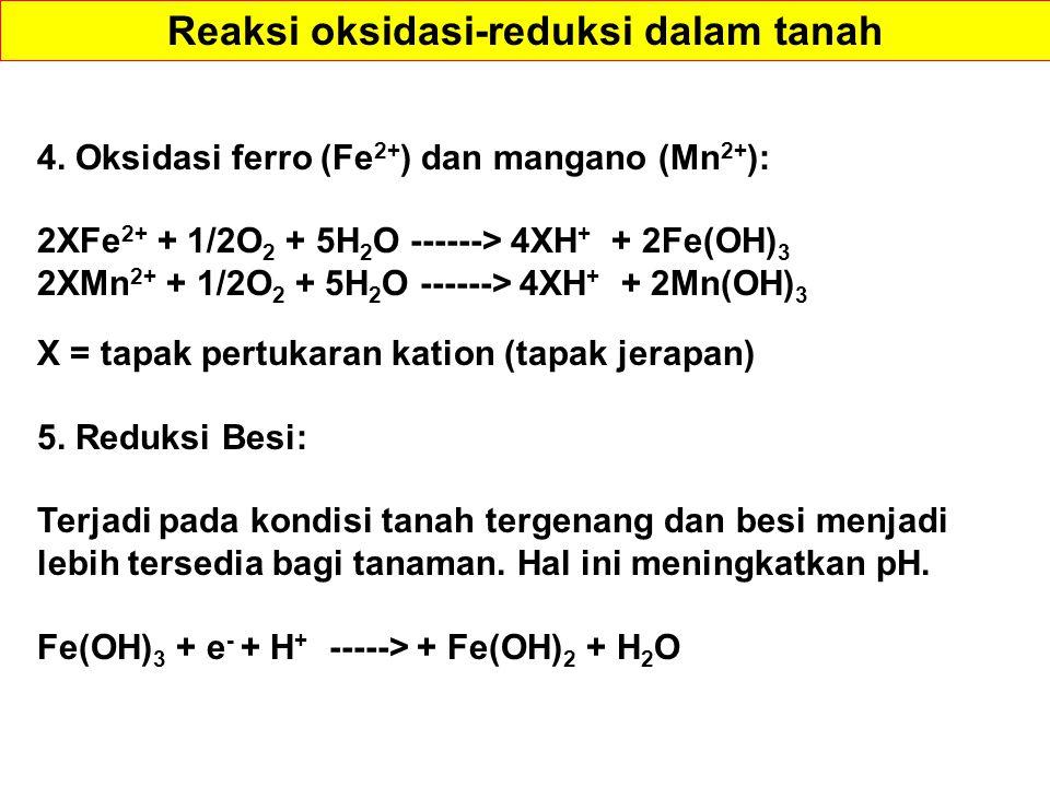 4. Oksidasi ferro (Fe 2+ ) dan mangano (Mn 2+ ): 2XFe 2+ + 1/2O 2 + 5H 2 O ------> 4XH + + 2Fe(OH) 3 2XMn 2+ + 1/2O 2 + 5H 2 O ------> 4XH + + 2Mn(OH)