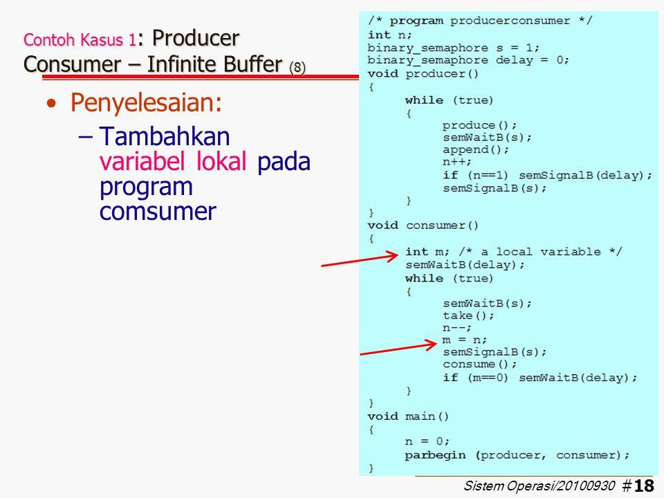 #19 Contoh Kasus 1 : Producer Consumer – Infinite Buffer (9) Pembuktian urutan PCPCC…  OK Apakah sudah dapat mencegah terjadinya kesalahan ?.