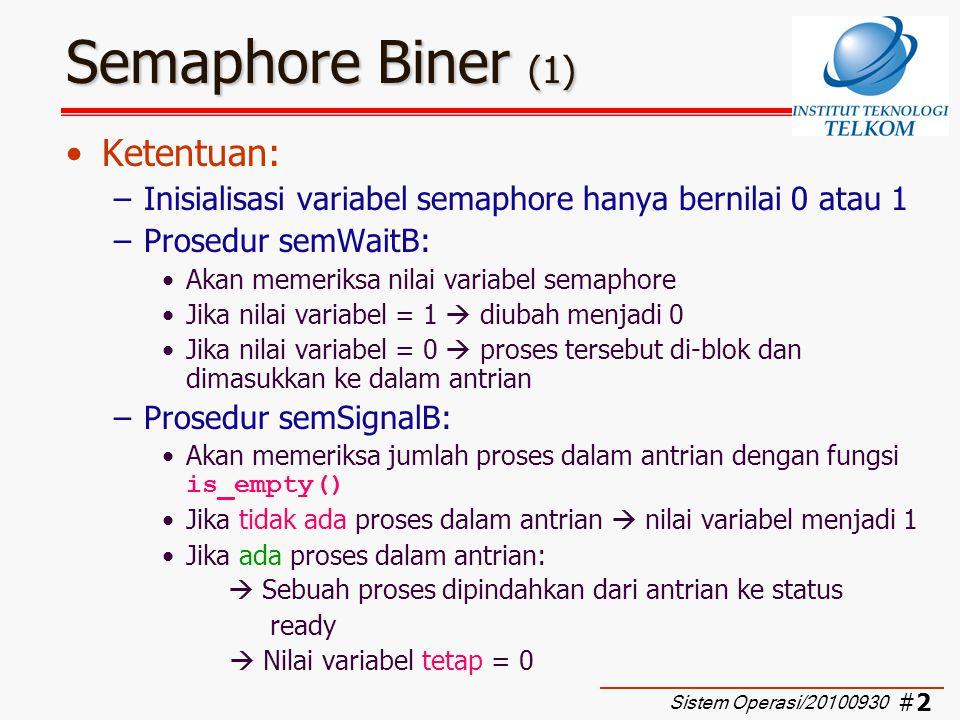 #3#3 Semaphore Biner (2) Definisi semaphore biner Sistem Operasi/20100930