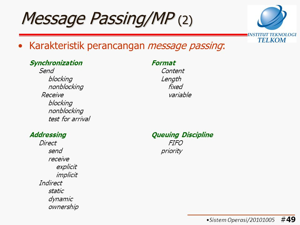 #49 Message Passing/MP (2) Karakteristik perancangan message passing: SynchronizationFormat SendContent blockingLength nonblockingfixed Receive variab
