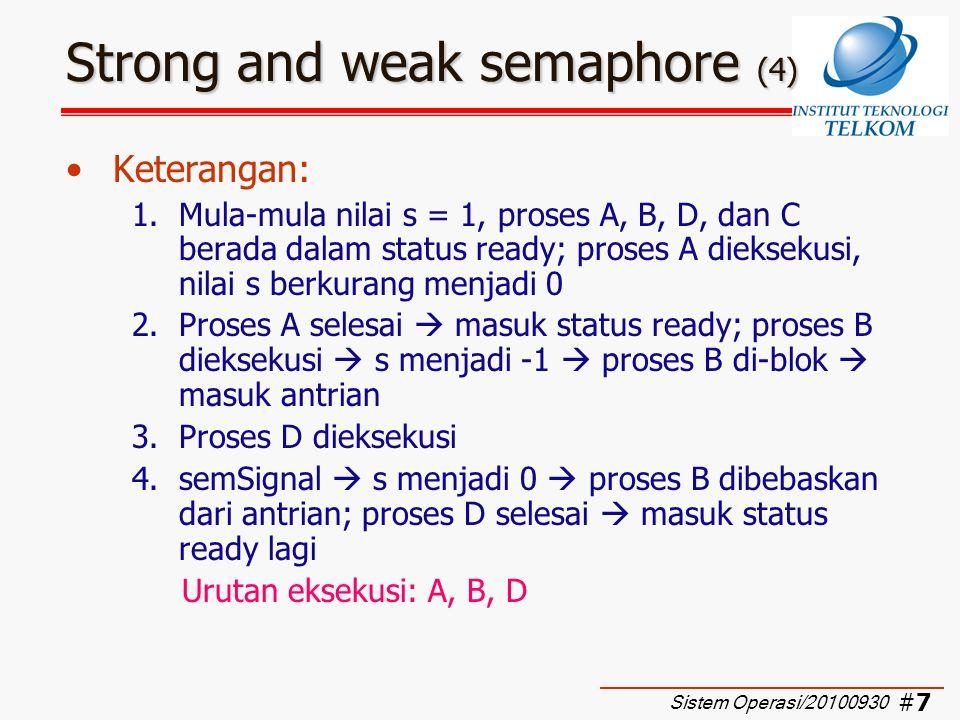 #8#8 Strong and weak semaphore (5) Keterangan: (cont'd) 5.Proses C dieksekusi  s menjadi -1  C di-blok  masuk antrian; hal yang sama terjadi pula untuk proses A dan B  di- blok  masuk antrian  s menjadi -3 6.Proses D dieksekusi lagi 7.semSignal  s menjadi -2  proses C dibebaskan Urutan eksekusi: A, B, D, C, A, B, D, C, D, A, D, B, D, C, D, A, D, … Sistem Operasi/20100930