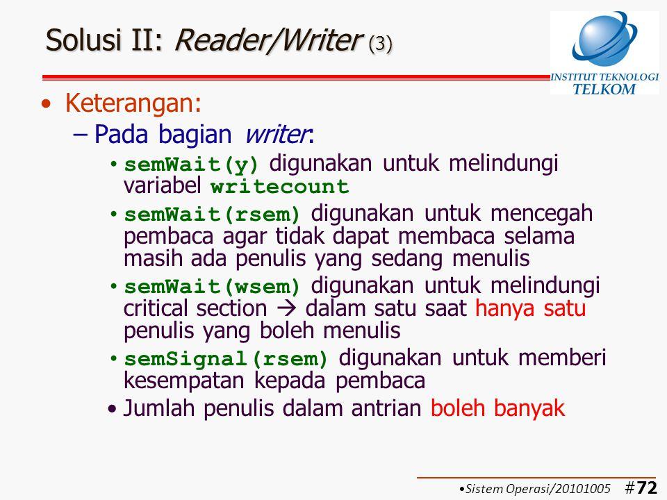 #73 Solusi III: Reader/Writer dengan Message Passing (1) Sistem Operasi/20101005 Penulis diprio- ritaskan