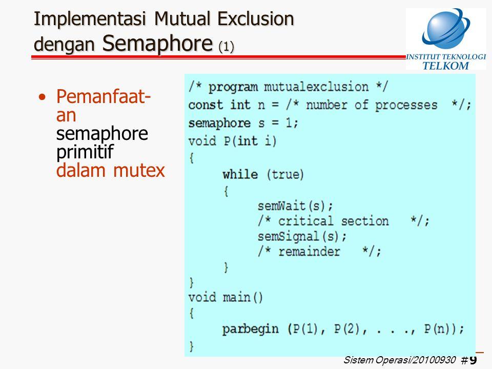 #10 Implementasi Mutual Exclusion dengan Semaphore (2) Contoh urut- urutan eksekusi 3 buah proses dengan semaphore Sistem Operasi/20100930