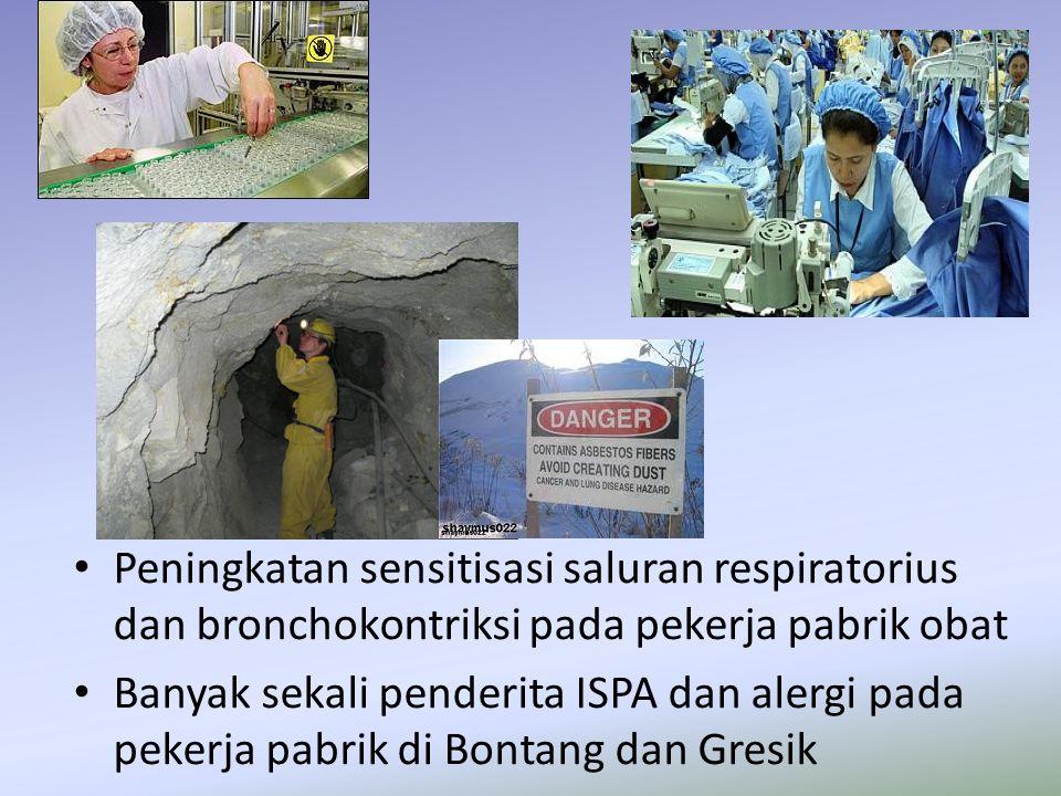 Peningkatan sensitisasi saluran respiratorius dan bronchokontriksi pada pekerja pabrik obat Banyak sekali penderita ISPA dan alergi pada pekerja pabri