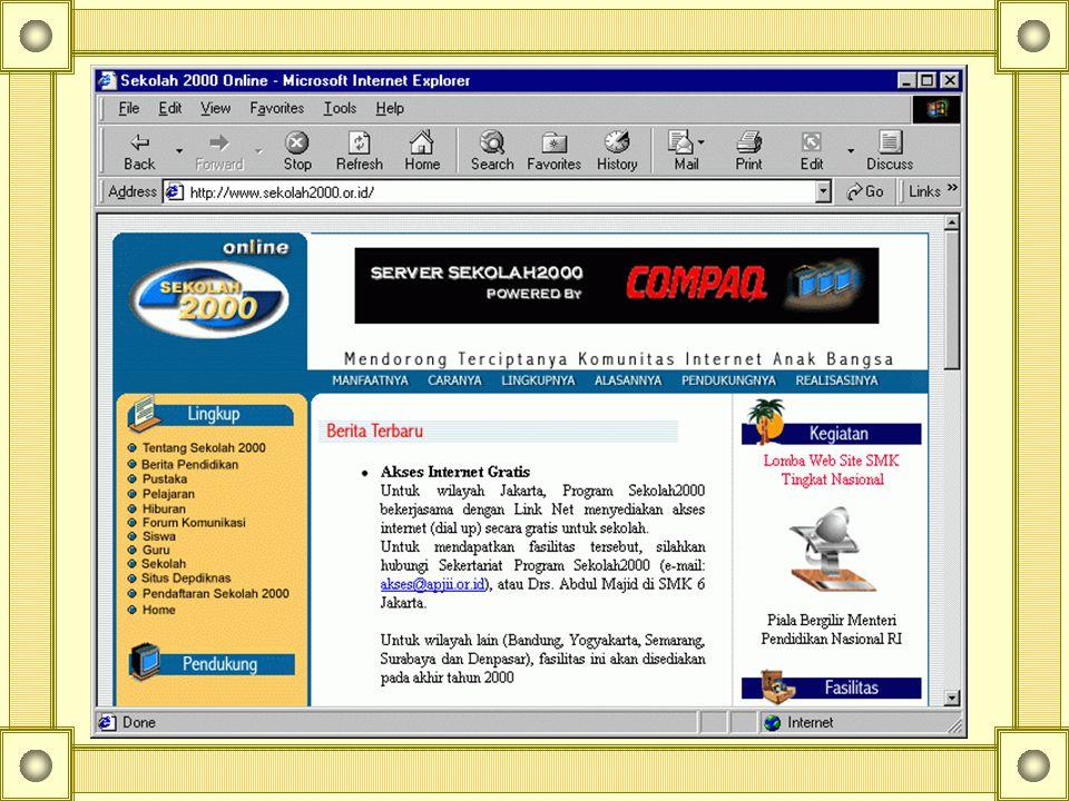 Inisiatif penggunaan IT & Internet di bidang pendidikan di Indonesia Sekolah 2000 http://www.sekolah2000.or.id http://www.sekolah2000.or.id Distance l