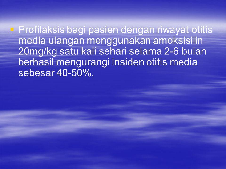   Profilaksis bagi pasien dengan riwayat otitis media ulangan menggunakan amoksisilin 20mg/kg satu kali sehari selama 2-6 bulan berhasil mengurangi