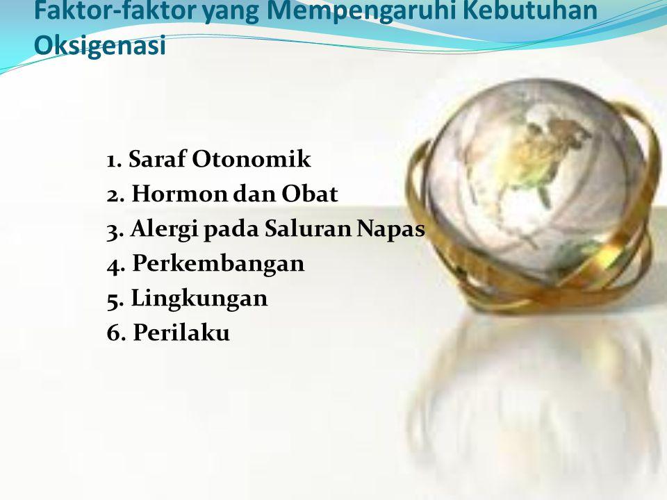 Faktor-faktor yang Mempengaruhi Kebutuhan Oksigenasi 1. Saraf Otonomik 2. Hormon dan Obat 3. Alergi pada Saluran Napas 4. Perkembangan 5. Lingkungan 6