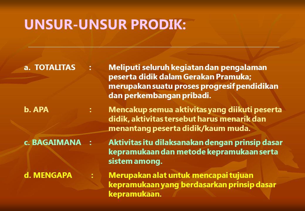 UNSUR-UNSUR PRODIK: a. TOTALITAS:Meliputi seluruh kegiatan dan pengalaman peserta didik dalam Gerakan Pramuka; merupakan suatu proses progresif pendid