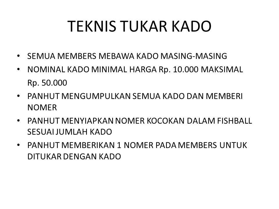 TEKNIS TUKAR KADO SEMUA MEMBERS MEBAWA KADO MASING-MASING NOMINAL KADO MINIMAL HARGA Rp. 10.000 MAKSIMAL Rp. 50.000 PANHUT MENGUMPULKAN SEMUA KADO DAN