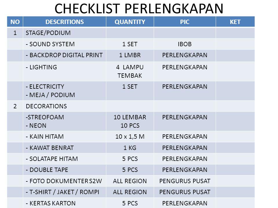 CHECKLIST PERLENGKAPAN NODESCRITIONSQUANTITYPICKET 1STAGE/PODIUM - SOUND SYSTEM1 SETIBOB - BACKDROP DIGITAL PRINT1 LMBRPERLENGKAPAN - LIGHTING4 LAMPU TEMBAK PERLENGKAPAN - ELECTRICITY - MEJA / PODIUM 1 SETPERLENGKAPAN 2DECORATIONS -STREOFOAM - NEON 10 LEMBAR 10 PCS PERLENGKAPAN - KAIN HITAM10 x 1,5 MPERLENGKAPAN - KAWAT BENRAT1 KGPERLENGKAPAN - SOLATAPE HITAM5 PCSPERLENGKAPAN - DOUBLE TAPE5 PCSPERLENGKAPAN - FOTO DOKUMENTER S2WALL REGIONPENGURUS PUSAT - T-SHIRT / JAKET / ROMPIALL REGIONPENGURUS PUSAT - KERTAS KARTON5 PCSPERLENGKAPAN