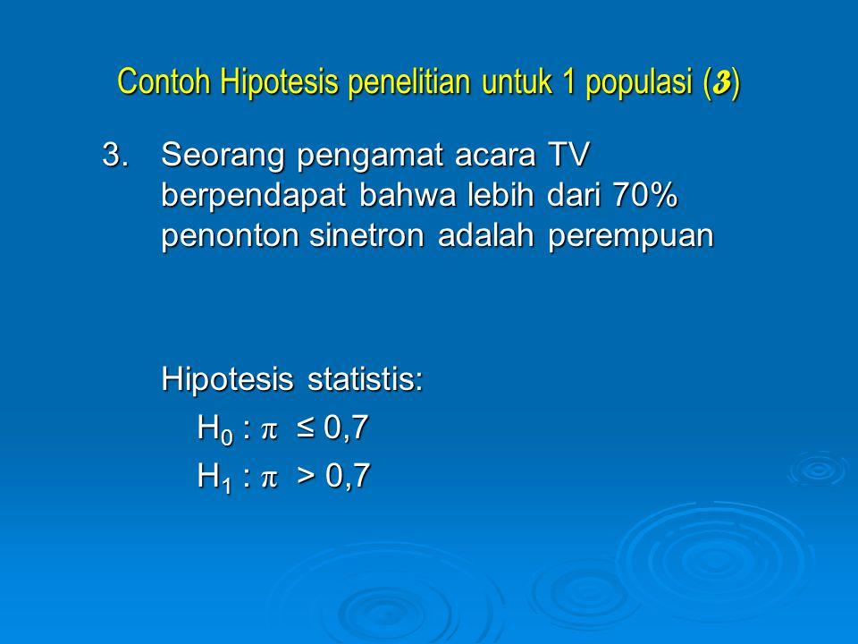 Contoh Hipotesis penelitian untuk 1 populasi ( 3 ) 3.