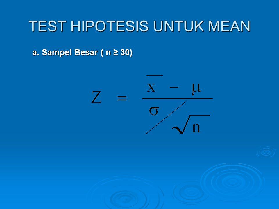 TEST HIPOTESIS UNTUK MEAN a. Sampel Besar ( n ≥ 30) a. Sampel Besar ( n ≥ 30)