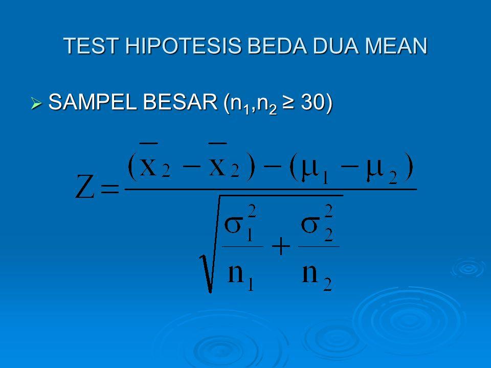 TEST HIPOTESIS BEDA DUA MEAN  SAMPEL BESAR (n 1,n 2 ≥ 30)