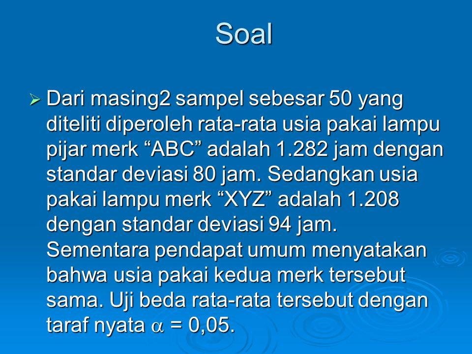 Soal  Dari masing2 sampel sebesar 50 yang diteliti diperoleh rata-rata usia pakai lampu pijar merk ABC adalah 1.282 jam dengan standar deviasi 80 jam.