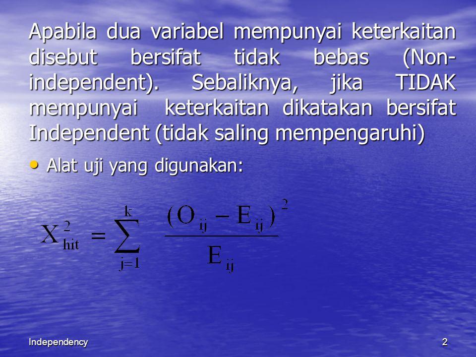 Independency2 Apabila dua variabel mempunyai keterkaitan disebut bersifat tidak bebas (Non- independent). Sebaliknya, jika TIDAK mempunyai keterkaitan