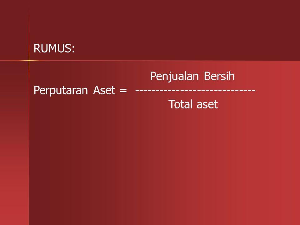 RUMUS: Penjualan Bersih Perputaran Aset = ----------------------------- Total aset