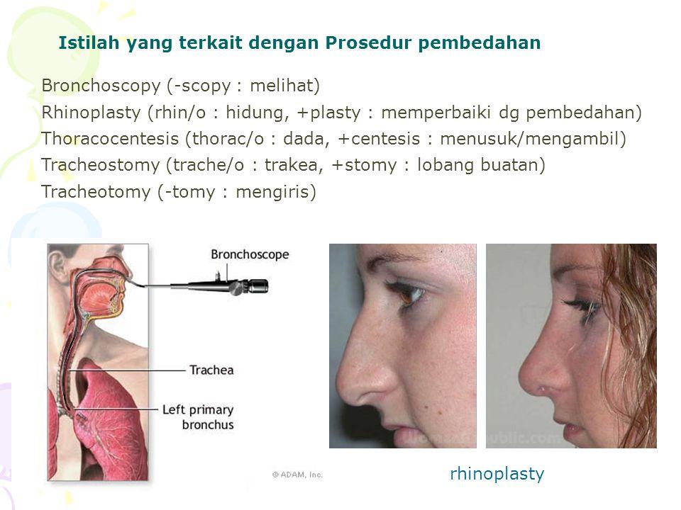Istilah yang terkait dengan Prosedur pembedahan Bronchoscopy (-scopy : melihat) Rhinoplasty (rhin/o : hidung, +plasty : memperbaiki dg pembedahan) Tho