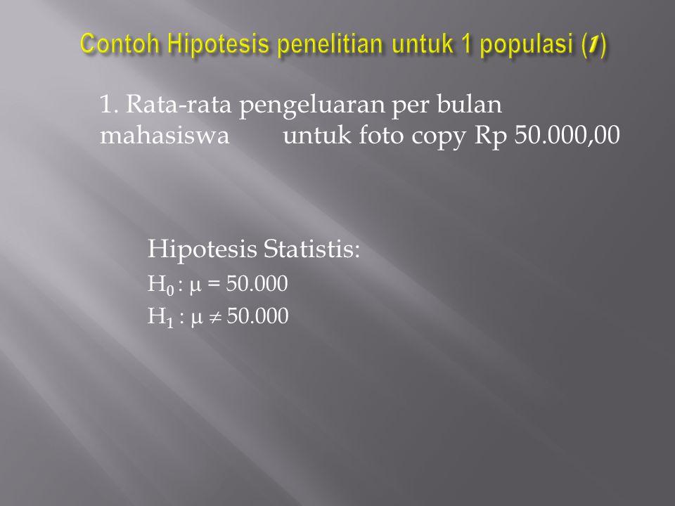 1. Rata-rata pengeluaran per bulan mahasiswa untuk foto copy Rp 50.000,00 Hipotesis Statistis: H 0 :  = 50.000 H 1 :   50.000
