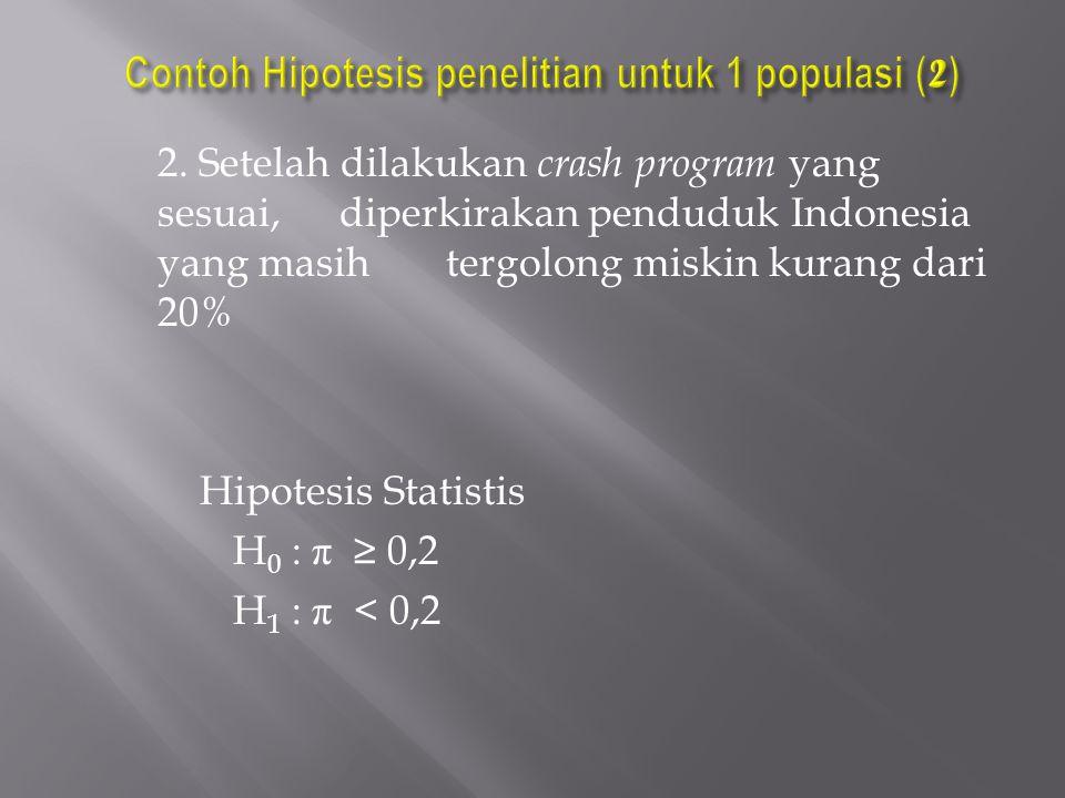 2. Setelah dilakukan crash program yang sesuai,diperkirakan penduduk Indonesia yang masih tergolong miskin kurang dari 20% Hipotesis Statistis H 0 : π