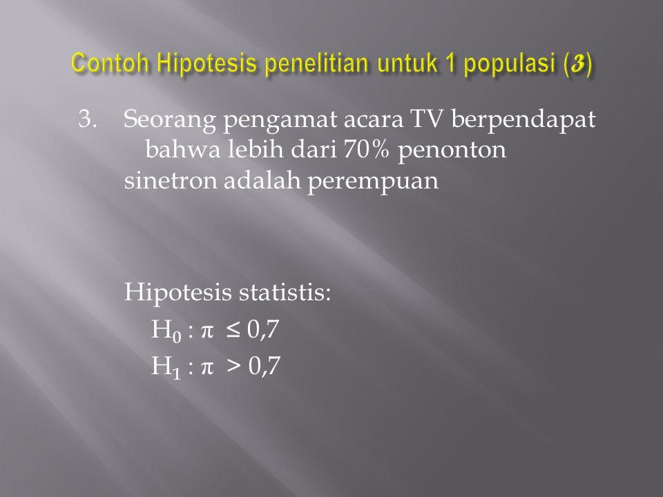3. Seorang pengamat acara TV berpendapat bahwa lebih dari 70% penonton sinetron adalah perempuan Hipotesis statistis: H 0 : π ≤ 0,7 H 1 : π > 0,7