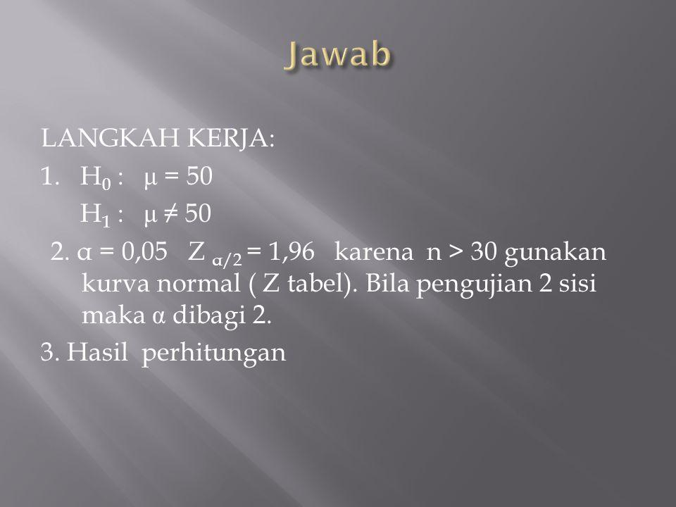 LANGKAH KERJA: 1.H 0 : μ = 50 H 1 : μ ≠ 50 2.