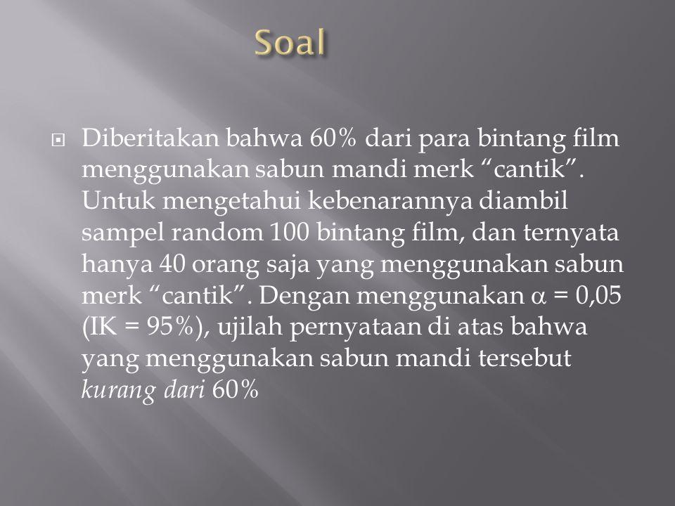  Diberitakan bahwa 60% dari para bintang film menggunakan sabun mandi merk cantik .