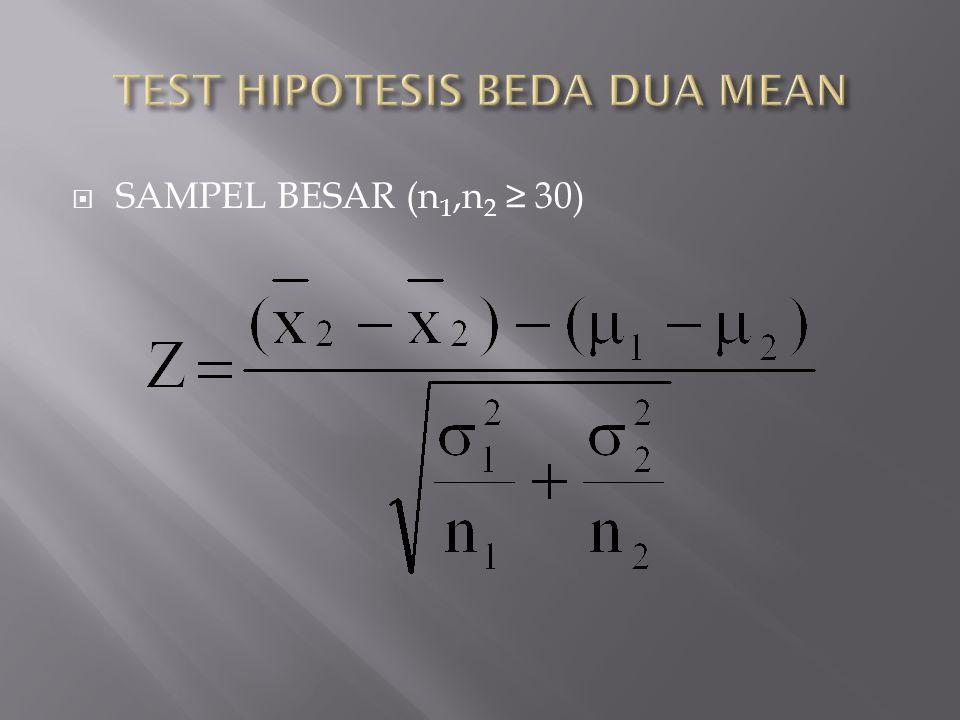  SAMPEL BESAR (n 1,n 2 ≥ 30)