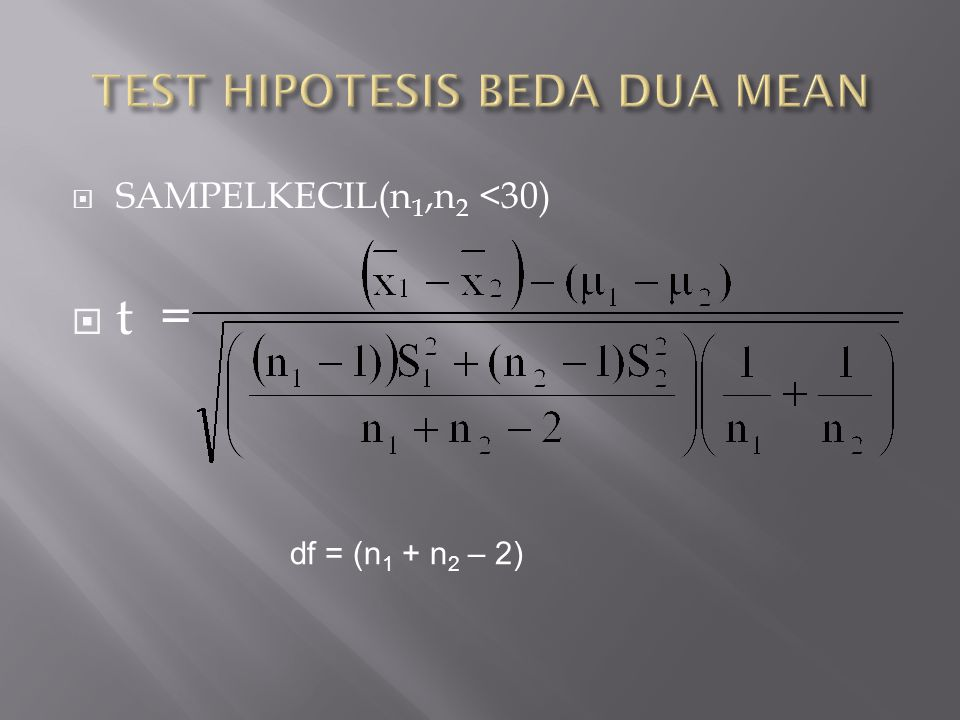  SAMPELKECIL(n 1,n 2 <30)  t = df = (n 1 + n 2 – 2)