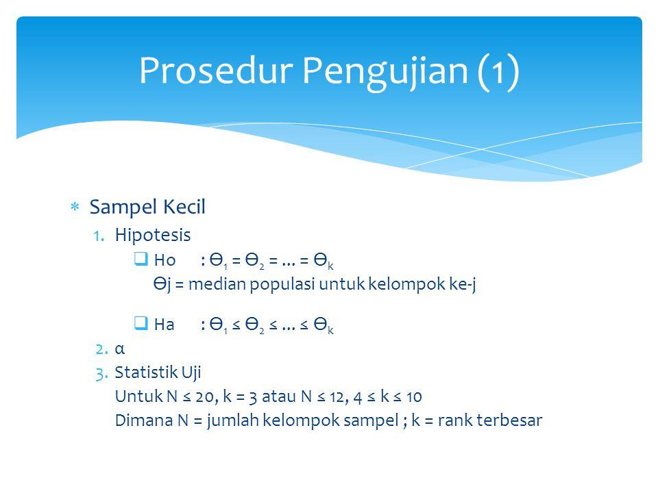  Sampel Kecil 1.Hipotesis  Ho: 1 = 2 =... = k j = median populasi untuk kelompok ke-j  Ha: 1 ≤ 2 ≤... ≤ k 2.α 3.Statistik Uji Untuk N ≤ 20, k = 3 a