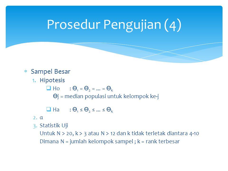  Sampel Besar 1.Hipotesis  Ho: 1 = 2 =... = k j = median populasi untuk kelompok ke-j  Ha: 1 ≤ 2 ≤... ≤ k 2.α 3.Statistik Uji Untuk N > 20, k > 3 a