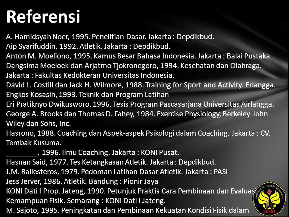 Referensi A. Hamidsyah Noer, 1995. Penelitian Dasar.