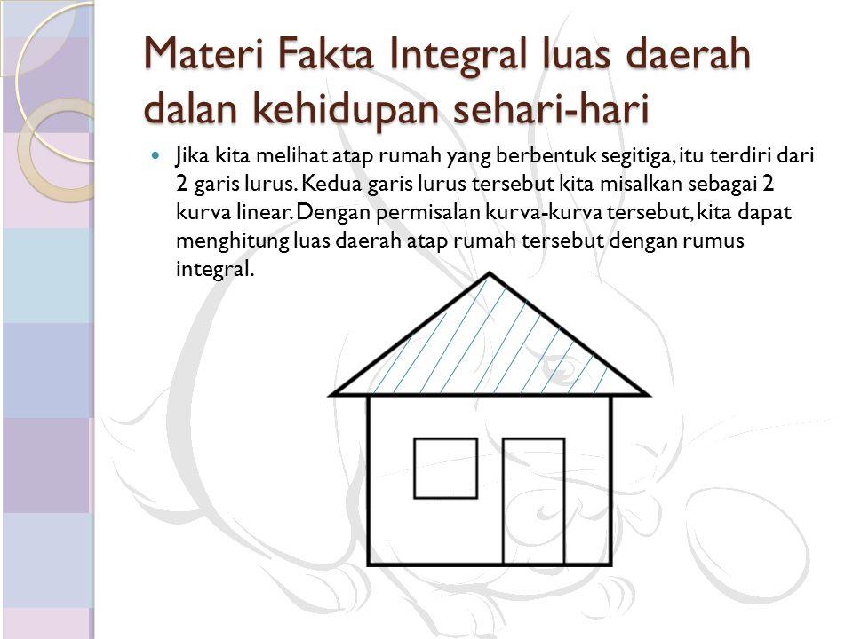 Materi Fakta Integral luas daerah dalan kehidupan sehari-hari Jika kita melihat atap rumah yang berbentuk segitiga, itu terdiri dari 2 garis lurus.